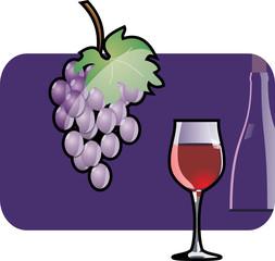 Wine glass and vine.