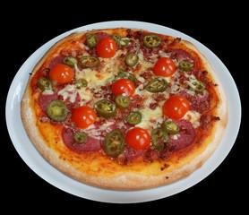 tomaten salami pizza