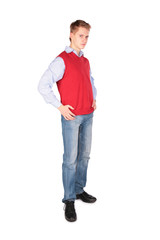 Boy in red jacket posing