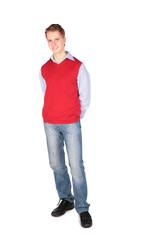 Boy in red jacket posing hands behind
