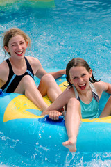 children having fun at waterpark