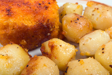 Roasted fish  and potatoes