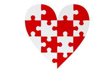 Coeur puzzle mosaïque rouge et blanc