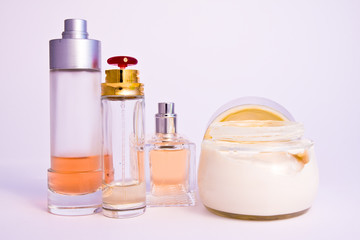 a close-up of cosmetics set up