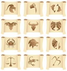 a set of grunge Zodiac Star Signs on manuscripts