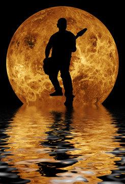 guitarist on moon surface