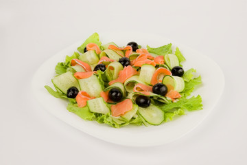 Salad with red fish and cucumbers