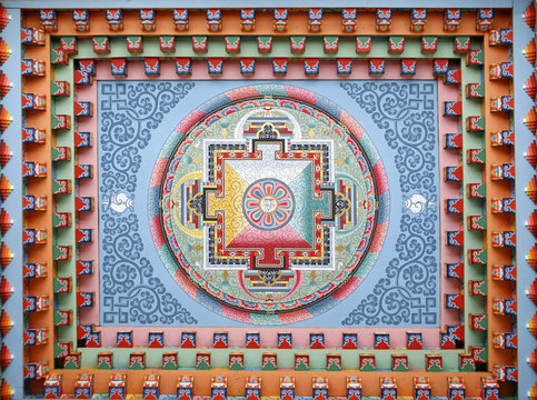 Tibetan mandala painting on monestery ceiling, Nepal