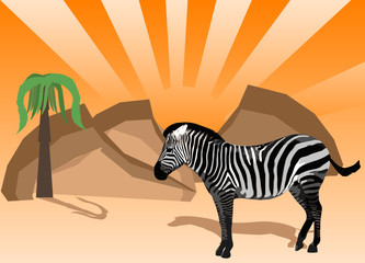 Zebra against  african landscape