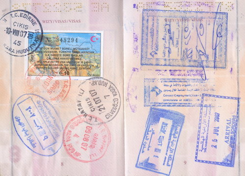 Passport stamps - Turkey, Jordan, Middle East