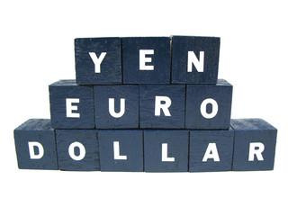 yen, euro and dollar