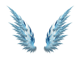 Blue angel wings white background