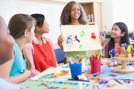 Elementary school pupil in art class