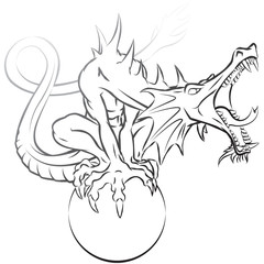 Dragon Perched on Orb