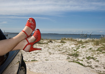 Flirty Red Shoes at the Beach