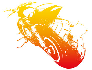 Wall Mural - Harley on the road - motorbike red and yellow