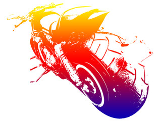 Fototapete - Harley on the road - motorbike blue red yellow