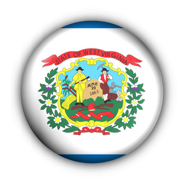 Round Button USA State Flag of West Virginia