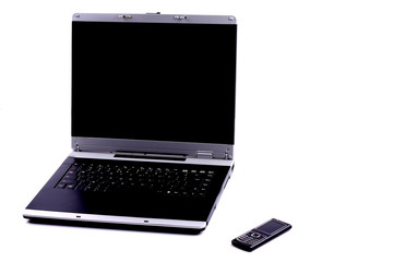 black business mobile phone and a laptop