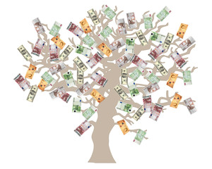 Money tree- USD, Euro and GB Pounds currencies