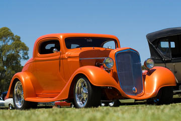 Aluminium Prints Old cars Orange Hot Rod