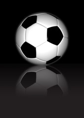 Football On Black Reflective Background