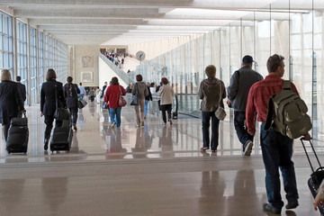 Airport moving crowd