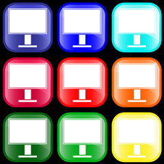 Icon of monitor on shiny buttons