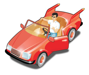 Man in the red cabriolet