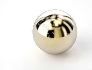 golden shiny ball with earth map