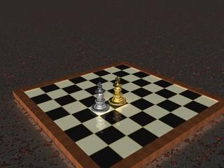 Schachbrett mit goldenem und silbernem König