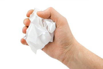 Hand and crumpled paper