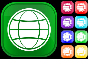 Globe icon on shiny square buttons