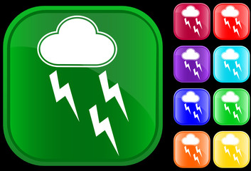 Icon of storm on shiny square buttons