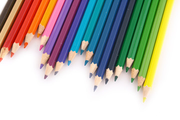 Multicolored pencil on white background