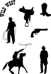 vector cowboy set