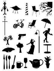 Random batch of silhouettes woman, light, chair, scenes, vector