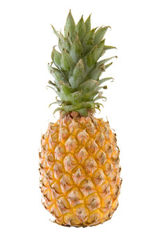A whole pinapple isolated over a white background