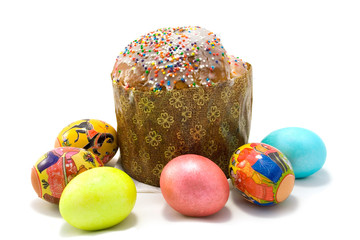 Easter cake and six Easter eggs