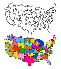 Map USA with states as a puzzle