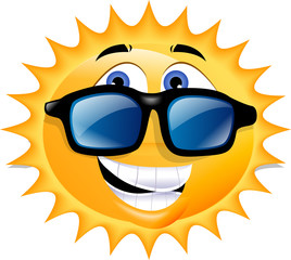 An illustration of the sun, wearing sunglasses and grinning.