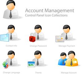 account management  - control panel icon set