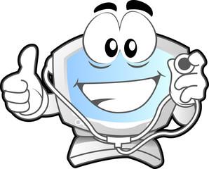 computer mascot - doctor