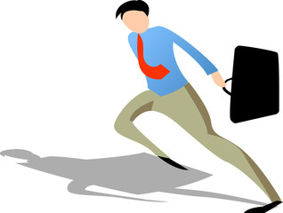 businessman holding suitcase running to win the competition