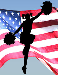 Cheerleader and Stars and Stripes
