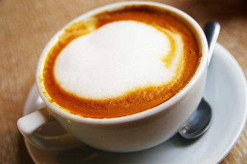 Closeup of a cup of  frothy cappuccino coffee
