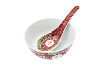 Chinese ceramic bowl and spoon