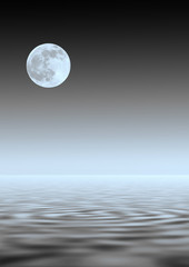 Papiers peints Pleine lune Blue Moon Over Water