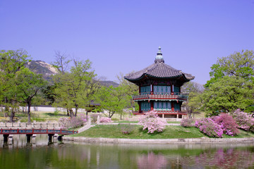 an old pavilion at Kyoungbok Palace in Seoul, Korea.