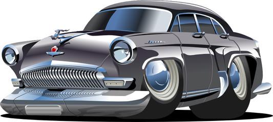 Vector cartoon retro car `Volga` Gaz-21
